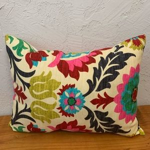 Floral and Pin Stripes Decorative Pillow